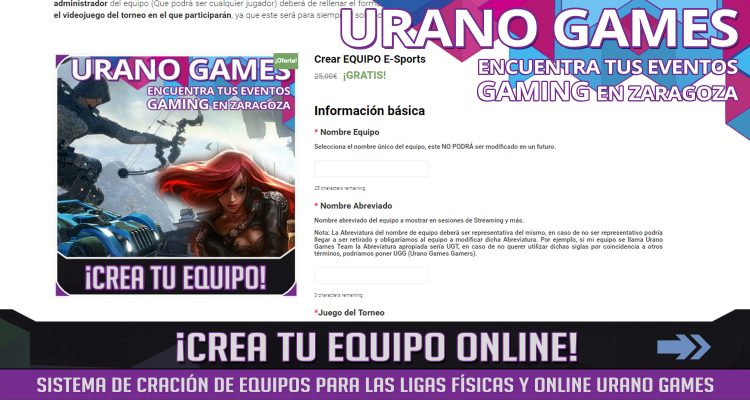 Sistema de creación equipos online Urano Games