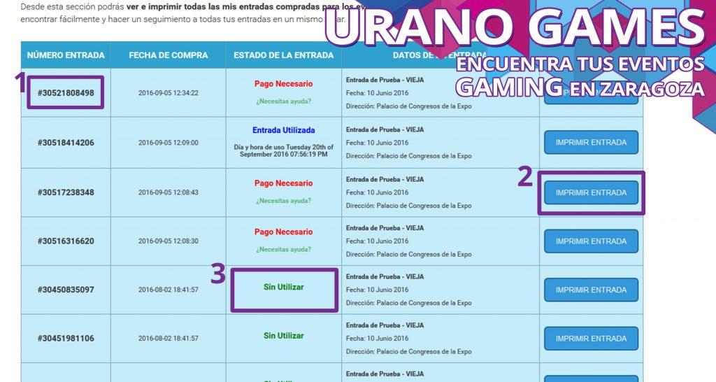 Comprar Entradas Imagen de Post con el panel Urano Games
