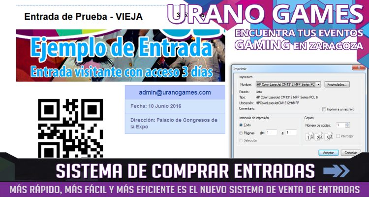 Sistema Comprar Entradas e Imprimir Urano Games