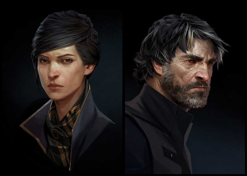 Emily Kaldwin y Corvo Attano. Dishonored II