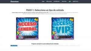 Paso 1 personalización entradas Urano Games (Nuevo Entradas)